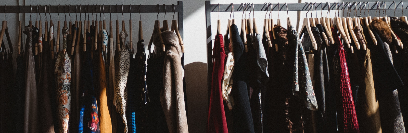 clothes on clothing rack