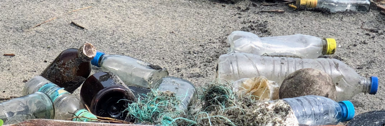 plastic waste on beach