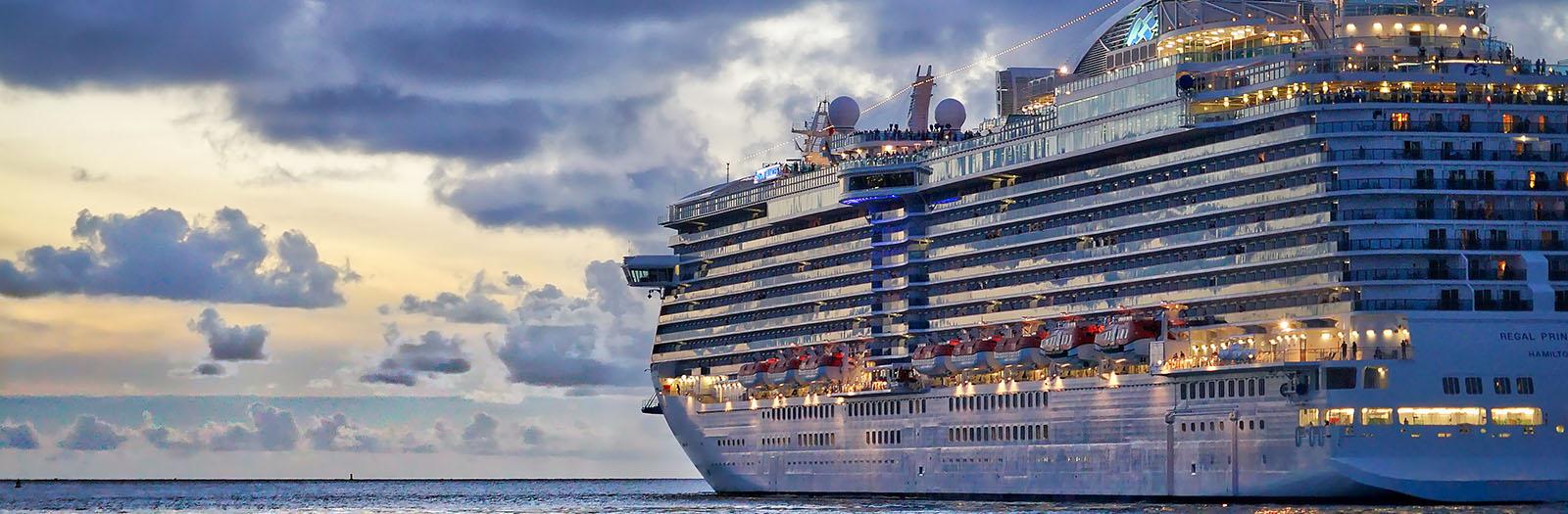 photo of a cruise ship sailing along the coast