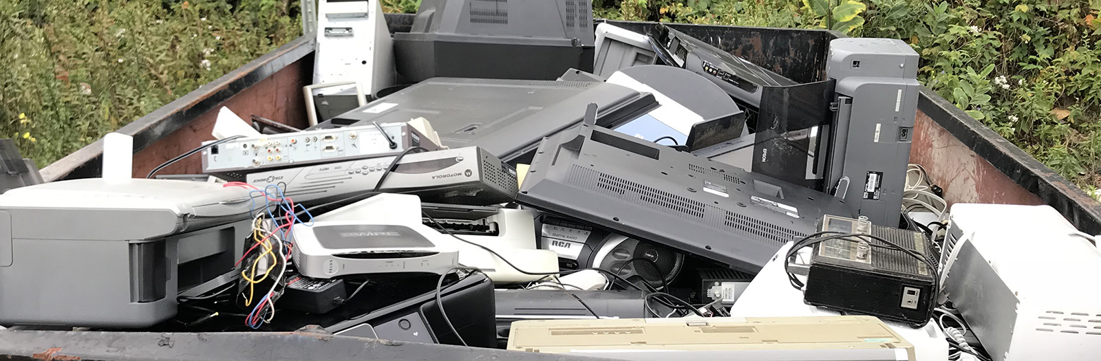 bin full of e-waste