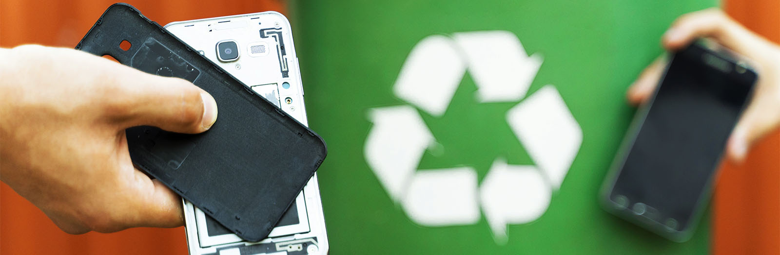 photo of disassembled smartphone in hand with a recycling bin in background