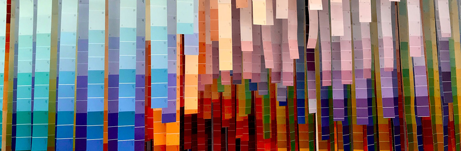 photo of art installation created by colourful paint chip cards