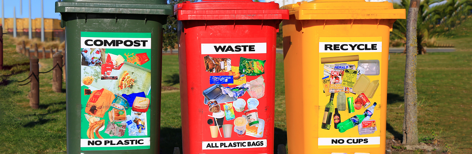 compost, waste and recycle bins