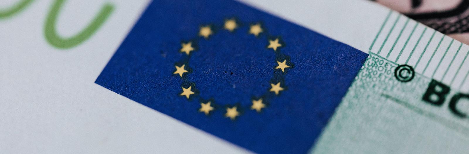 EU flag on money
