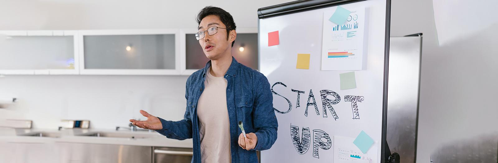 entrepreneur pitching idea