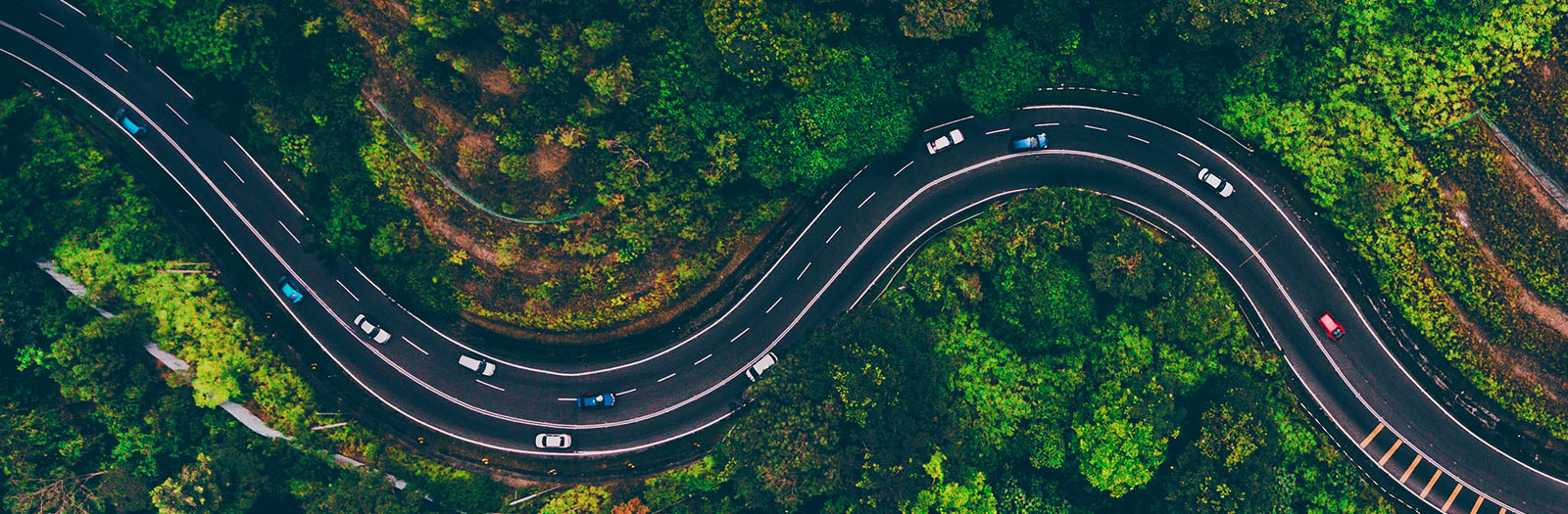 aerial shot of a winding road