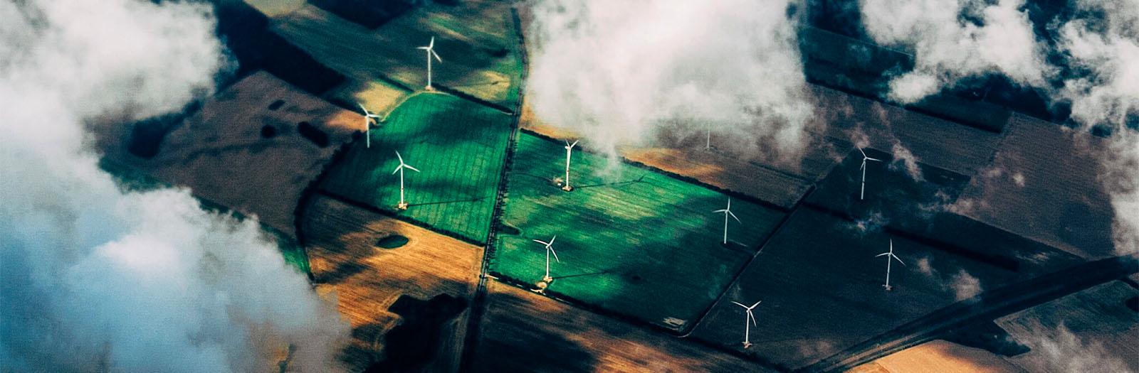 aerial shot of a wind farm